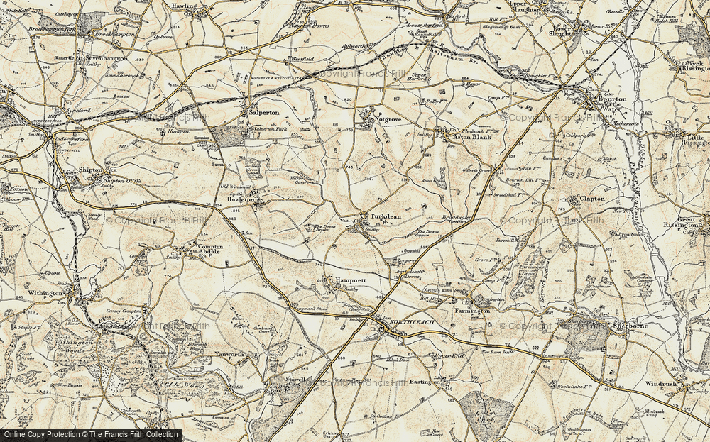 Old Map of Historic Map covering Leygore Manor in 1898-1899