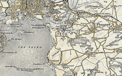 Old map of Turnchapel in 1899-1900