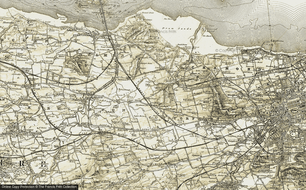 Old Map of Historic Map covering Lennie Mains in 1903-1906