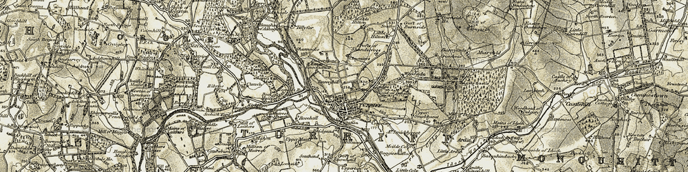 Old map of Turriff in 1909-1910