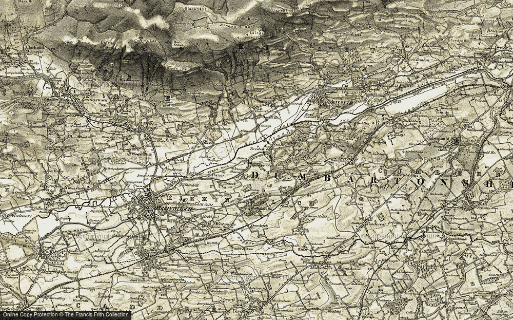 Old Map of Historic Map covering Bar Hill (Roman Fort) in 1904-1907
