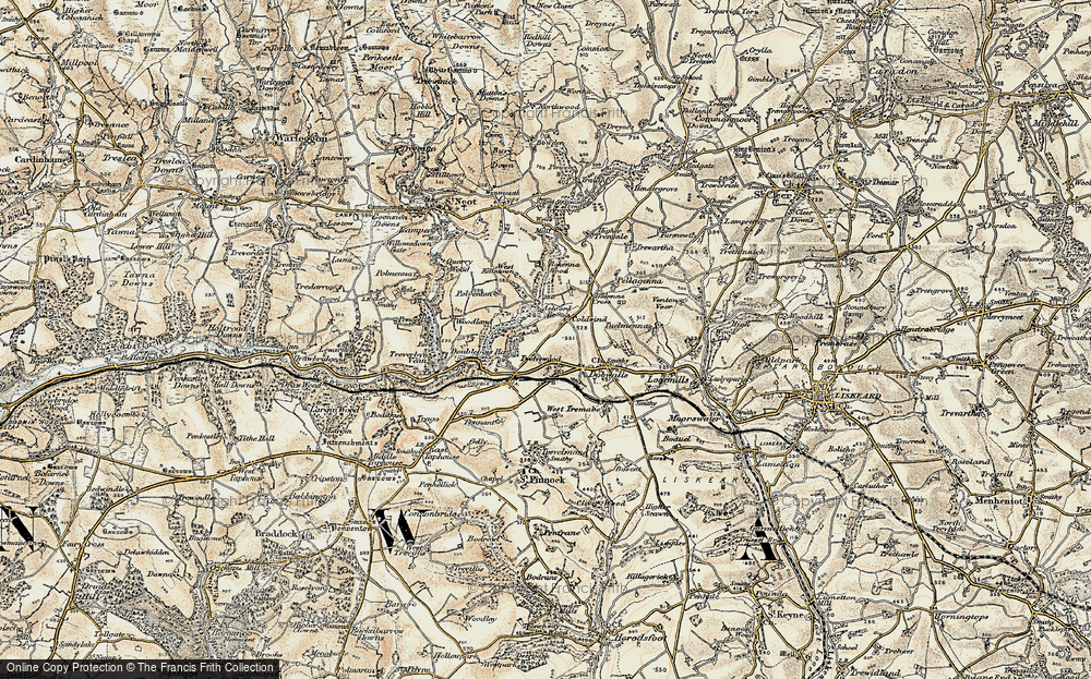 Old Map of Historic Map covering Ashford Br in 1900