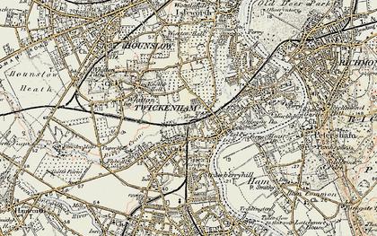 Old map of Twickenham in 1897-1909