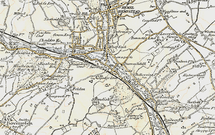 Old map of Two Waters in 1897-1898