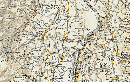 Old map of Afon Roe in 1902-1903