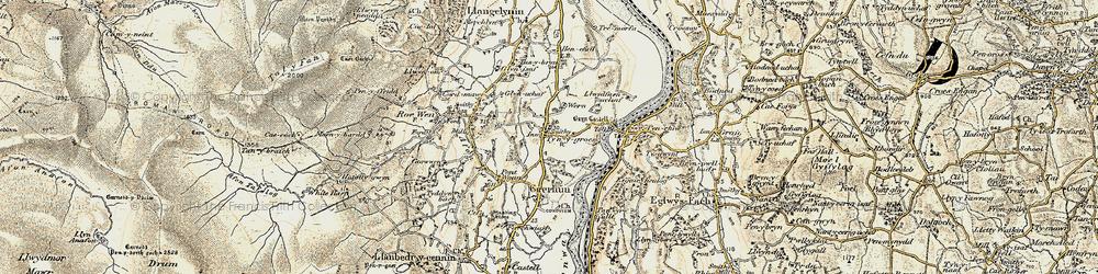 Old map of Ty'n-y-groes in 1902-1903