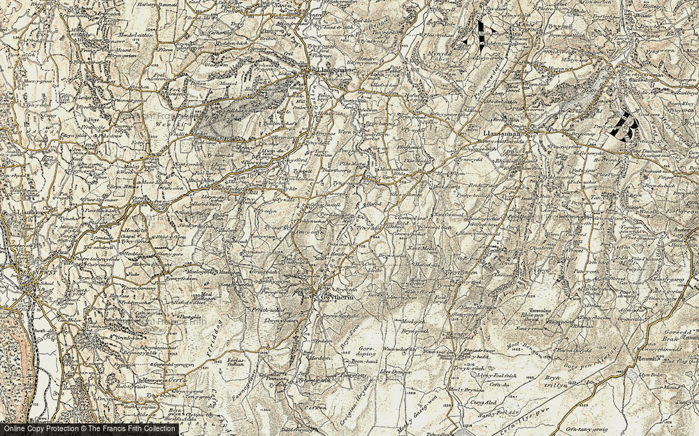 Old Map of Historic Map covering Afon Cledwen in 1902-1903