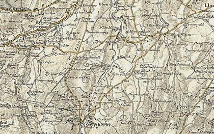Old map of Afon Cledwen in 1902-1903