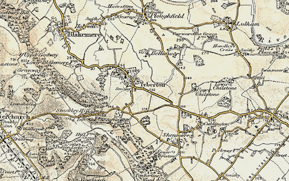 Old map of Tyberton in 1900-1901