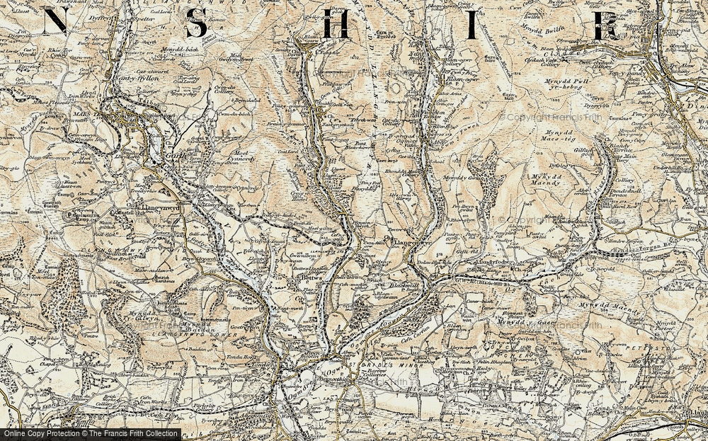 Old Map of Historic Map covering Afon Garw in 1899-1900