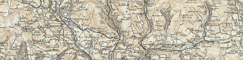 Old map of Afon Garw in 1899-1900