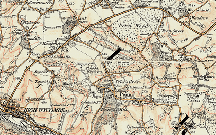 Old map of Tylers Green in 1897-1898