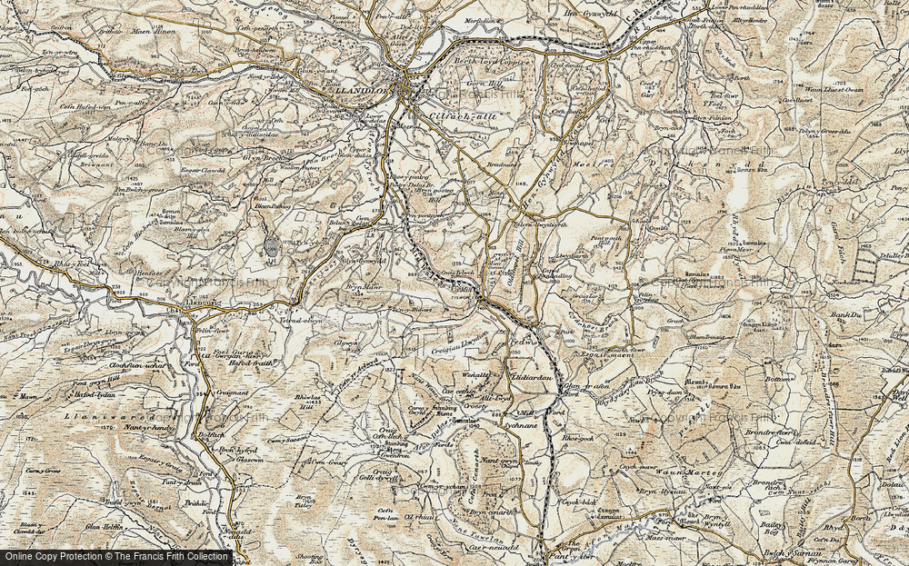 Old Map of Historic Map covering Banhadlog Hall in 1901-1903