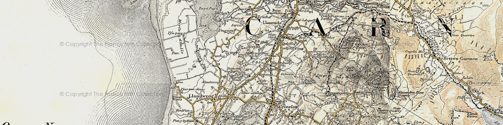 Old map of Afon Carrog in 1903-1910