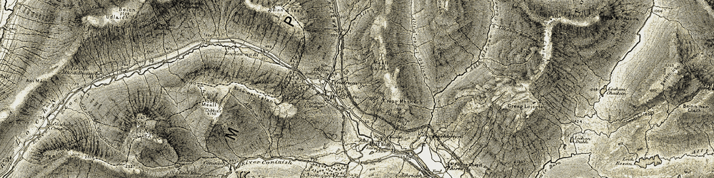 Old map of Allt Gleann a' Chlachain in 1906