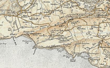 Old map of Tyneham in 1899-1909