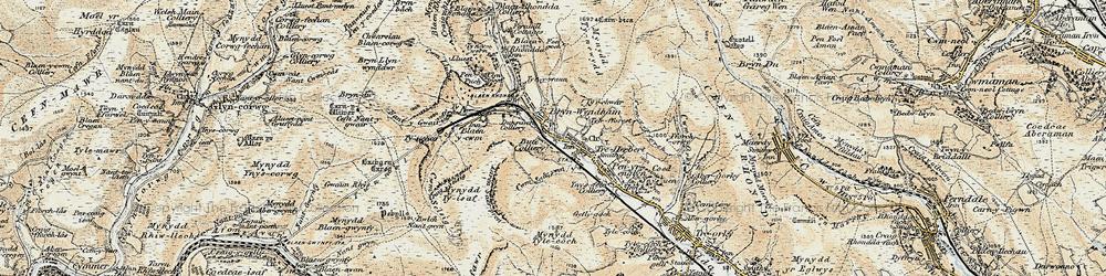 Old map of Tynewydd in 1899-1900