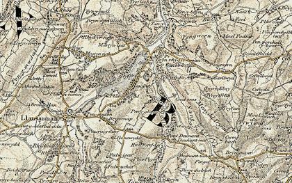 Old map of Afon Deunant in 1902-1903