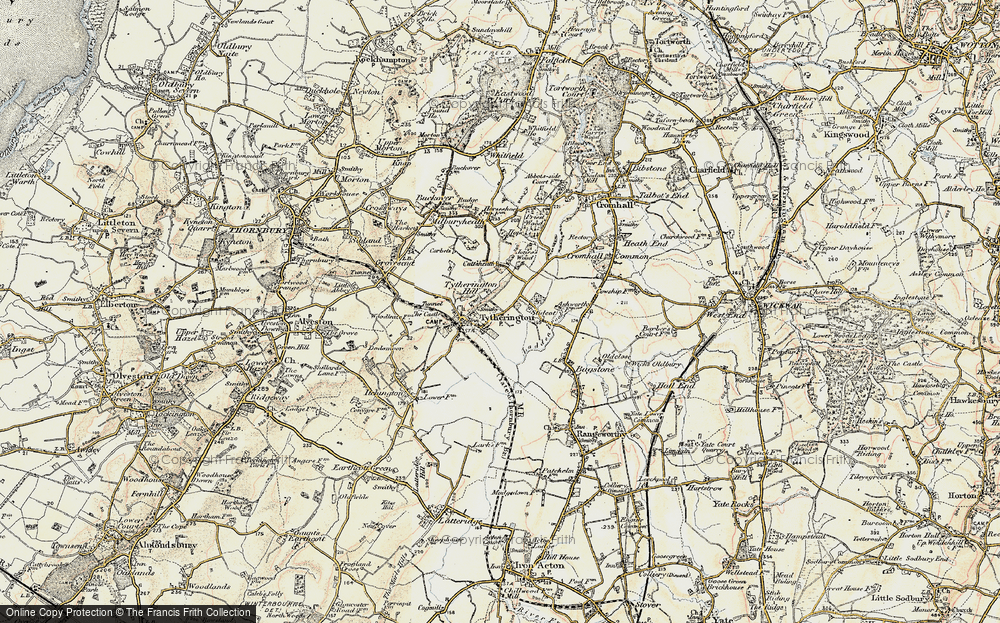 Old Map of Historic Map covering Baden Hill in 1899