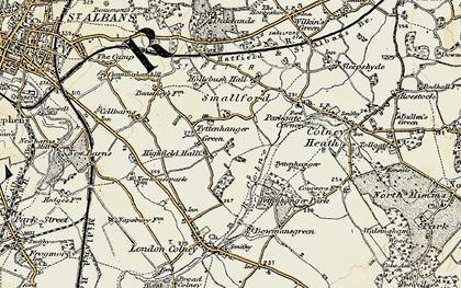 Old map of Tyttenhanger in 1897-1898