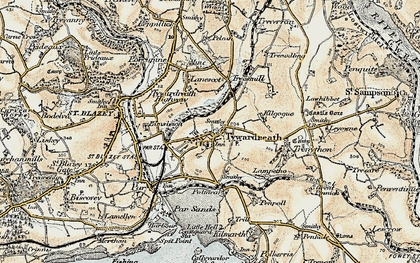 Old map of Tywardreath in 1900