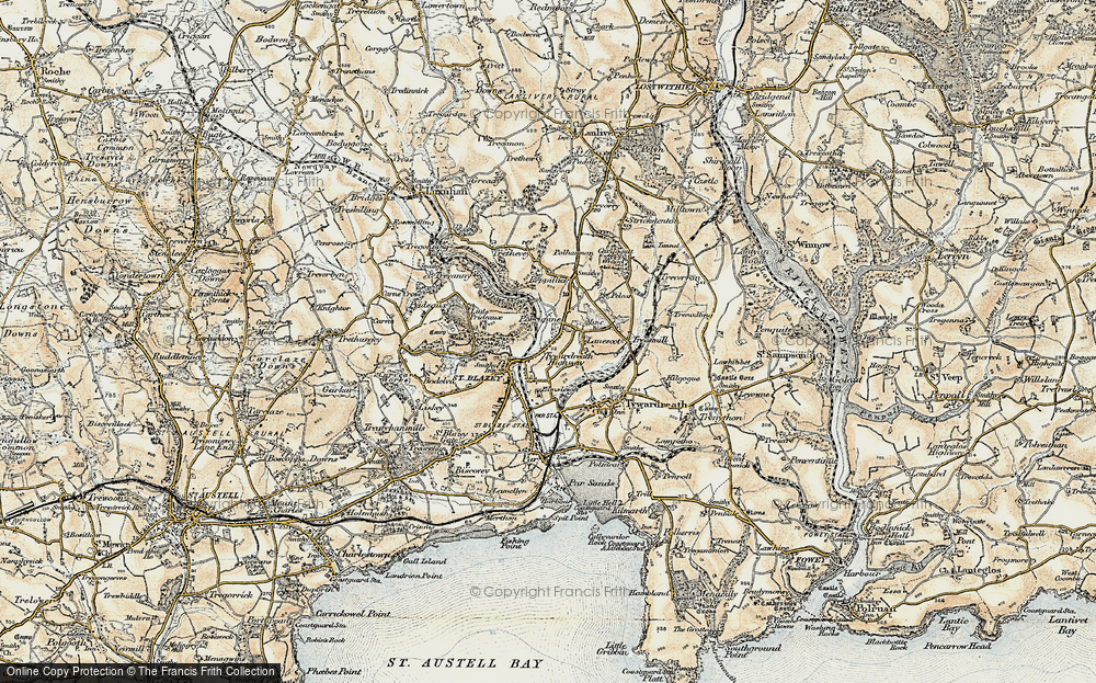 Old Map of Tywardreath Highway, 1900 in 1900