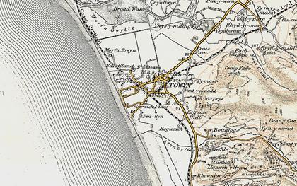 Old map of Tywyn in 1902-1903