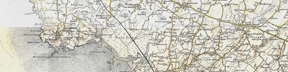 Old map of Afon Crigyll in 1903-1910
