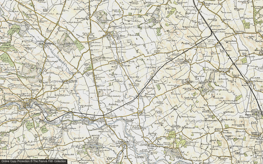 Old Map of Historic Map covering Lingy Moor in 1903-1904