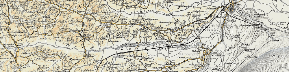 Old map of Udimore in 1898