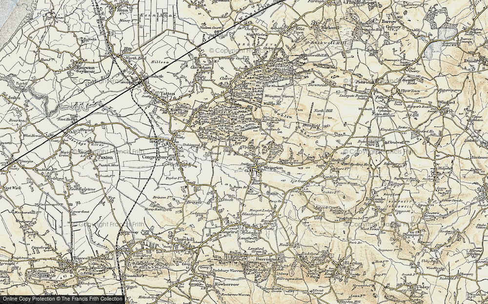 Old Map of Historic Map covering Wrington Hill in 1899-1900