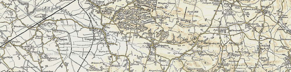 Old map of Wrington Hill in 1899-1900