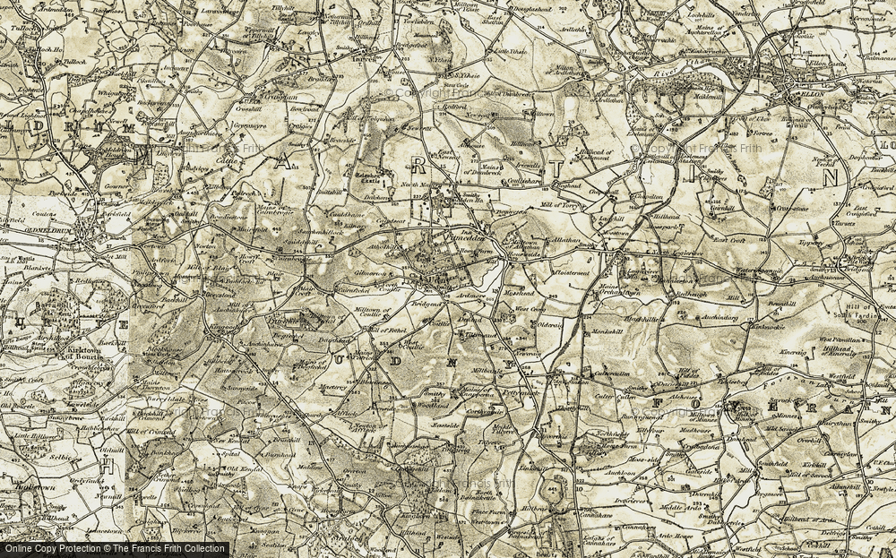 Old Map of Historic Map covering Atholhill in 1909-1910