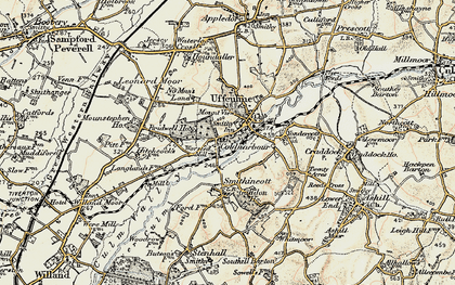 Old map of Uffculme in 1898-1900