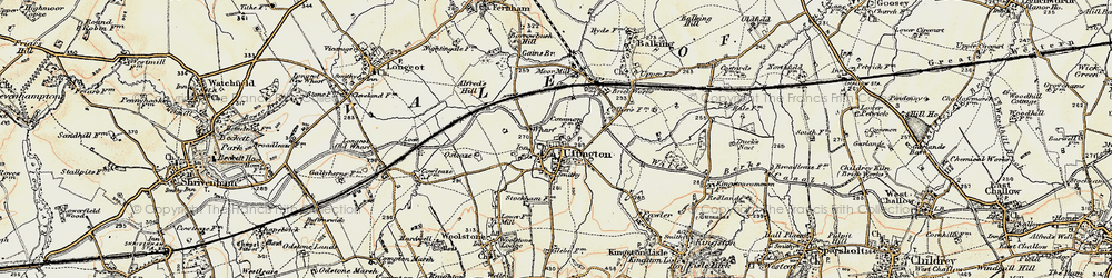 Old map of Uffington in 1898-1899