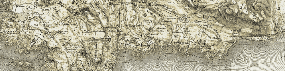 Old map of Àird Dubh in 1906-1907