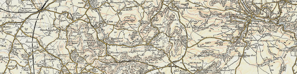 Old map of Uley in 1898-1900