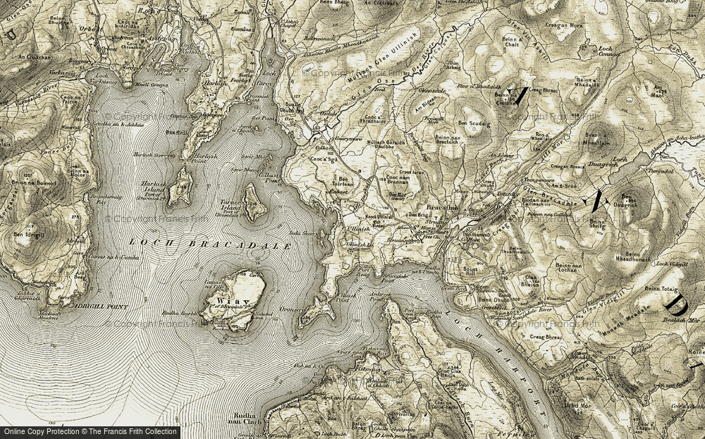 Old Map of Historic Map covering Allt Dughaill in 1908-1909