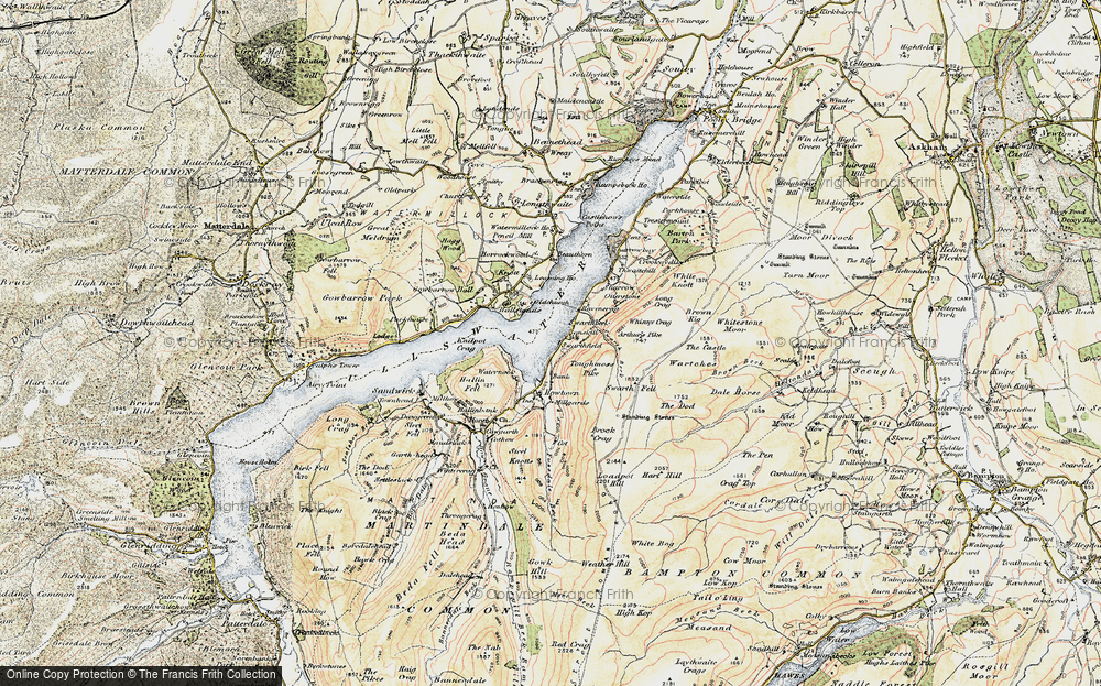Old Map of Historic Map covering Arthur's Pike in 1901-1904