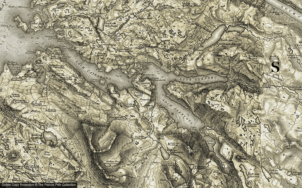 Old Map of Historic Map covering Àird da Loch in 1910