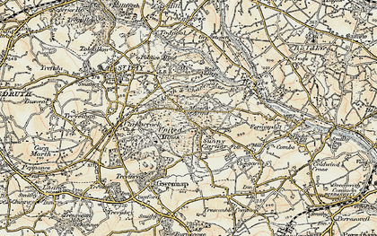 Old map of United Downs in 1900