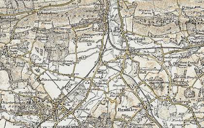 Old map of Unstead in 1898-1909