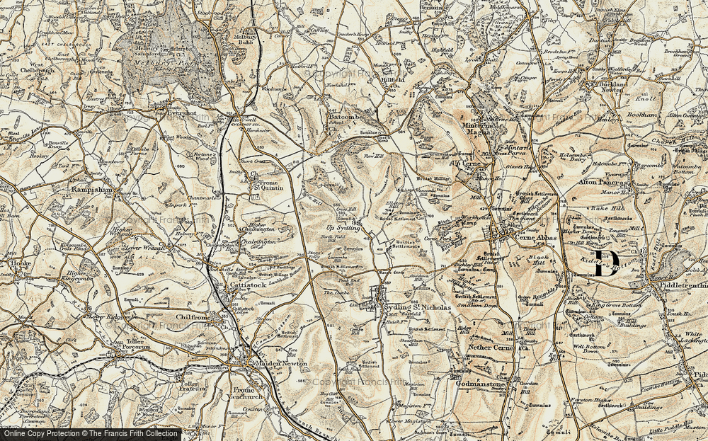 Old Map of Historic Map covering Ayles's Hill in 1899