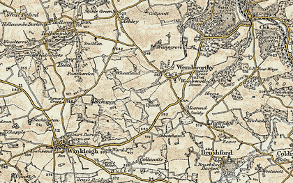 Old map of Lane End in 1899-1900