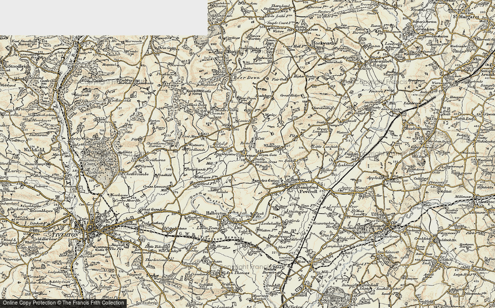 Old Map of Uplowman, 1898-1900 in 1898-1900