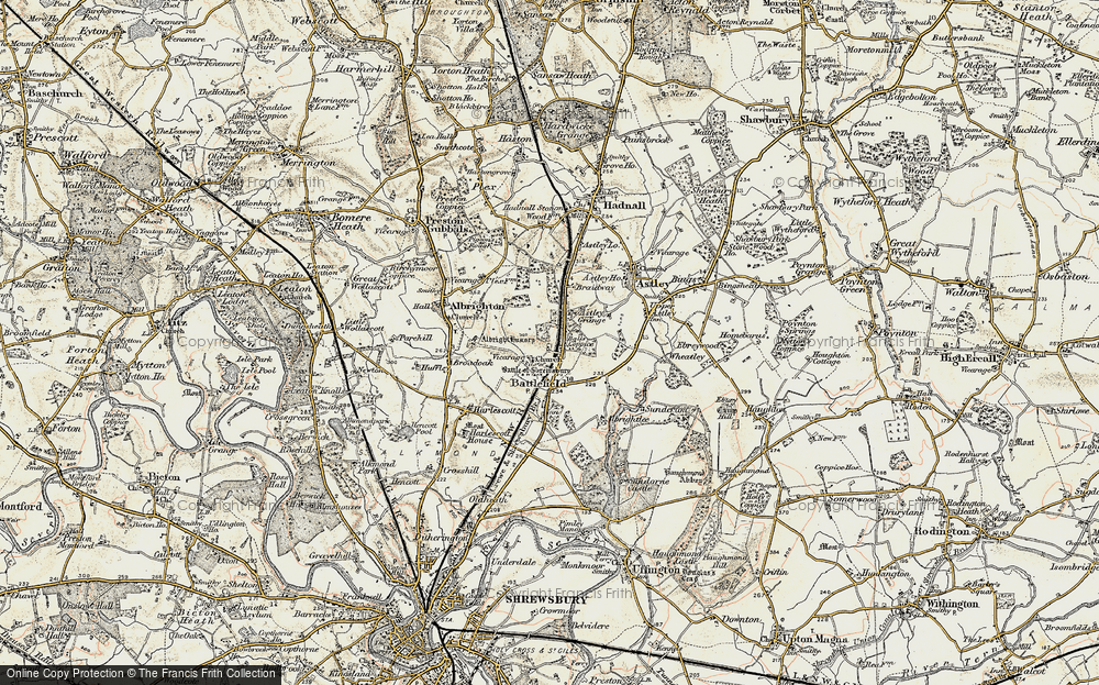 Old Map of Historic Map covering Albright Hussey in 1902