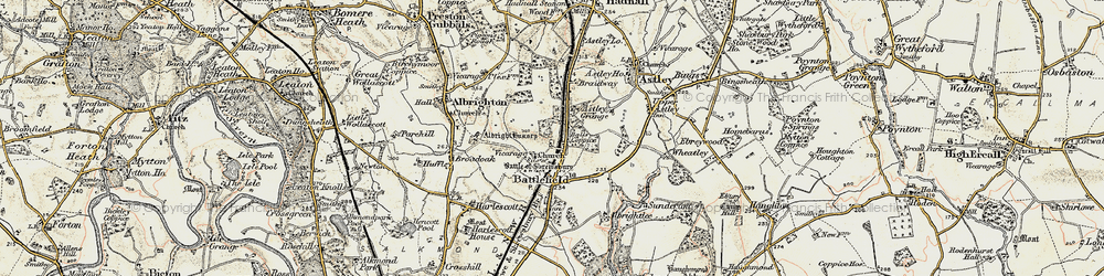 Old map of Albright Hussey in 1902