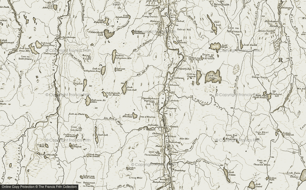 Old Map of Historic Map covering Allt nan Gall in 1910-1912