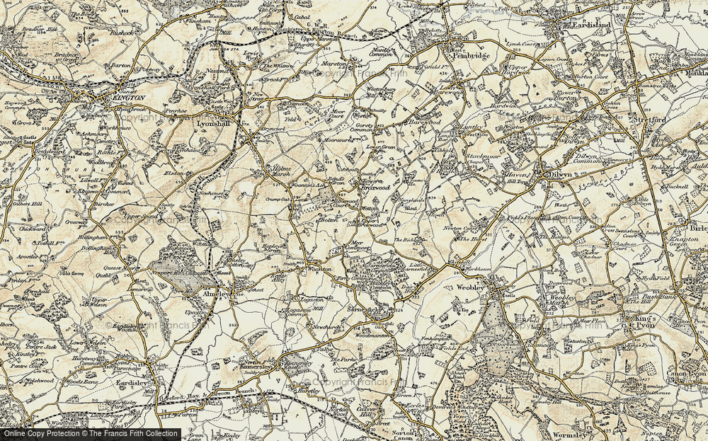 Old Map of Historic Map covering Wetton in 1900-1901