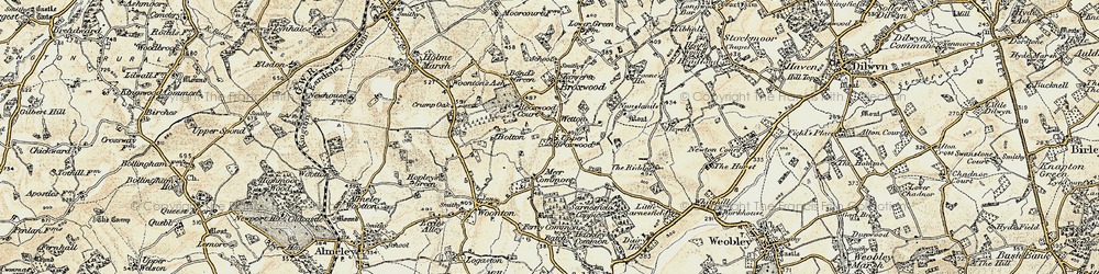 Old map of Wetton in 1900-1901